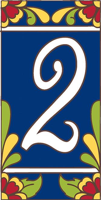 3x6 Tile House Number Cobalt Talavera #2