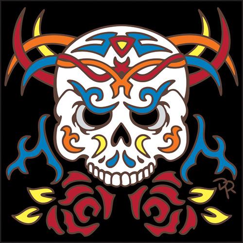 6x6 Tile Tribal Skull 8219A