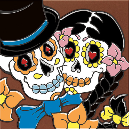"""6X6 Tile Day of the Dead Bride & Groom """"Naturals"""""""