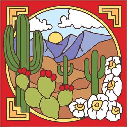6x6 Tile Saguaro Desert Scene