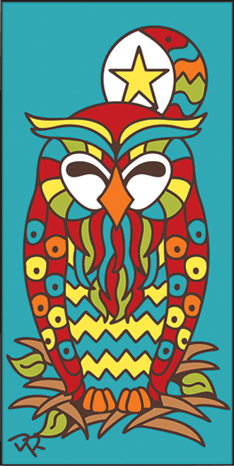 3x6 Tile Nesting Owl Turquoise 3030TQ