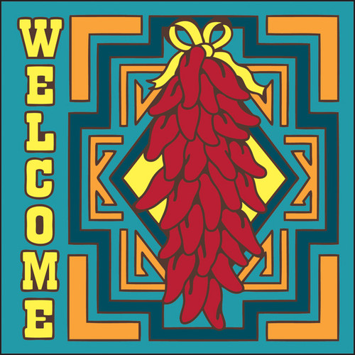 6x6 Tile Welcome Chilis Turquoise