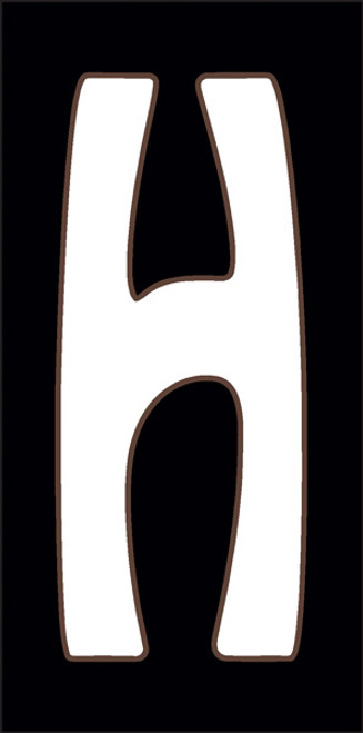 3x6 Tile House Letter H White on Black