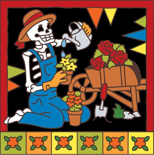 6x6 Tile Day of the Dead Gardener