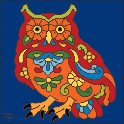 6x6 Tile Talavera Owl Cobalt 8007C