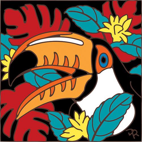 6x6 Tile Toucan on Tropical Foliage