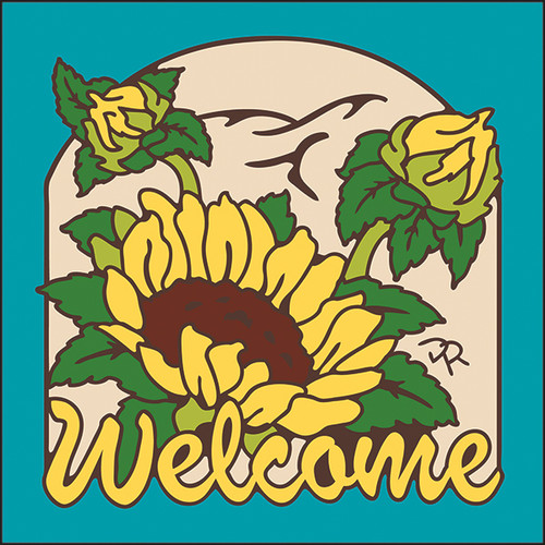 6x6 Tile Welcome Sunflowers Turquoise 7952TQ
