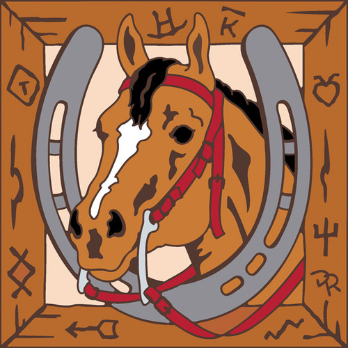 6x6 Tile Horse in Branded Wood Frame