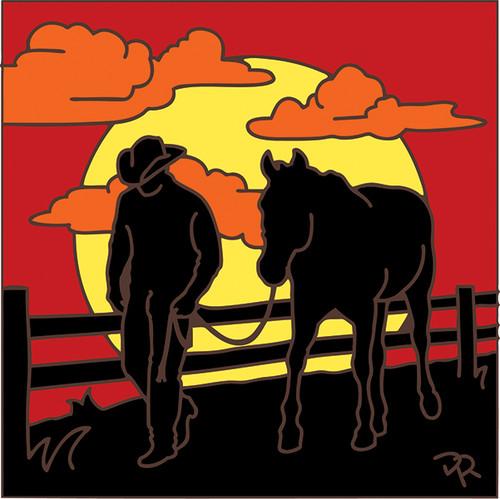 6x6 Tile Cowboy Sunset Silhouette 8050A