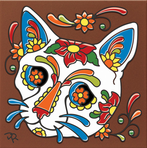 """6X6 Tile Day of the Dead Cat Skull """"Naturals"""""""