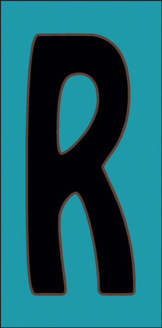 3x6 Tile House Letter R Turquoise
