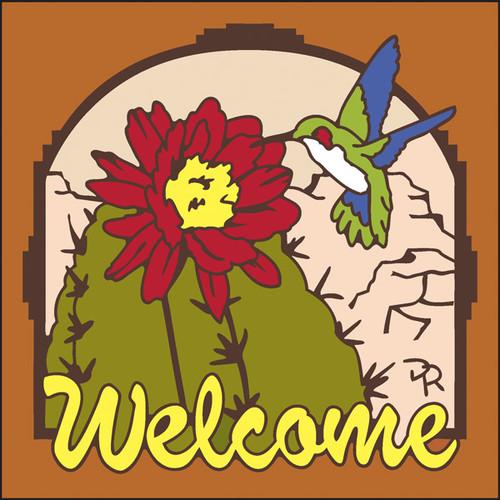 6x6 Tile Welcome Hummingbird Terracotta 7946R