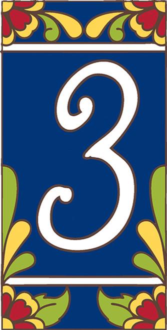 3x6 Tile House Number Cobalt Talavera #3
