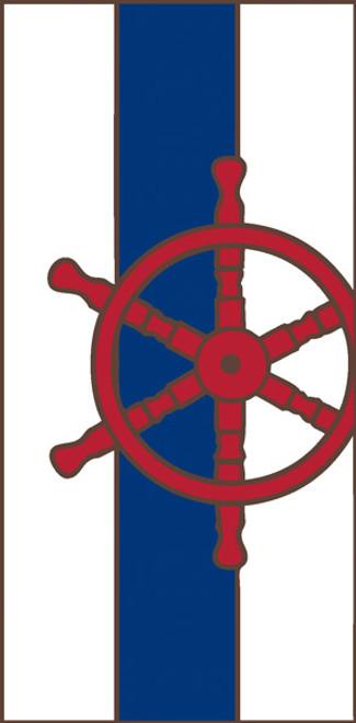 3x6 Tile Nautical Ship's Wheel Border White