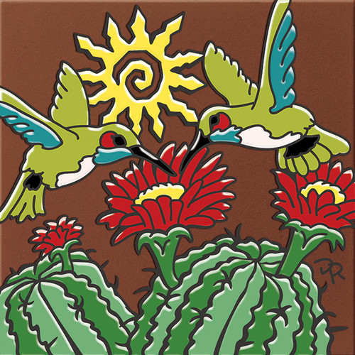 """6X6 Tile Hummers with Catus Blooms """"Naturals"""""""