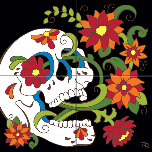"12""x12"" Tile Mural Day of the Dead Blooming Skull"