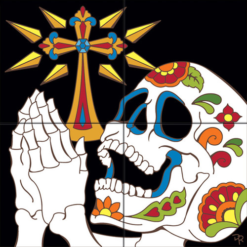 """12""""x12"""" Tile Mural Day of the Dead Praying Skull"""