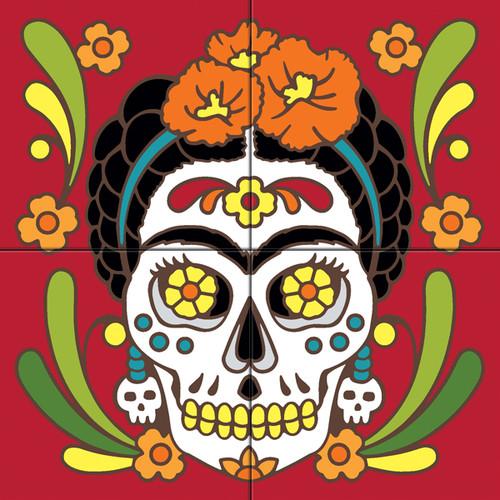 12x12 Tile Mural Day of the Dead Frida Kahlo