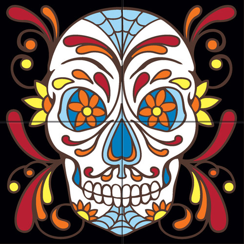 12x12 Tile Mural Day of the Dead Web Head