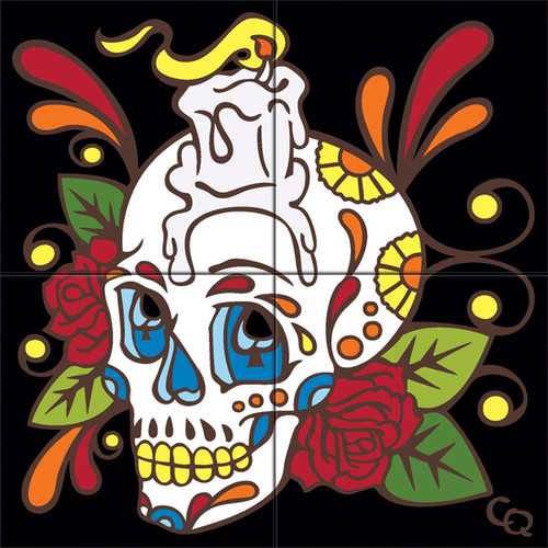 12x12 Tile Mural Day of the Dead Candle Head