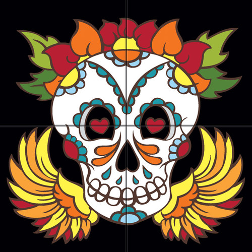 12x12 Tile Mural Day of the Dead Skull with Wings