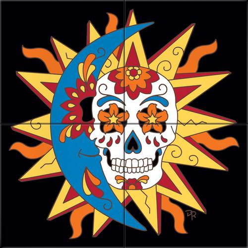 """12""""x12"""" Tile Mural Day of the Dead Sun Moon Skull"""