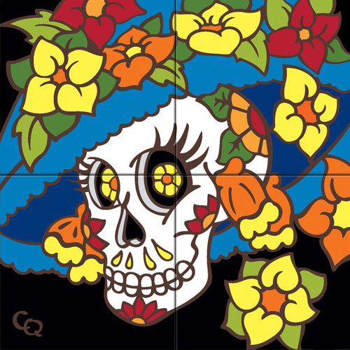 12x12 Tile Mural Day of the Dead Lady with Hat/Facing Left 6495A-12