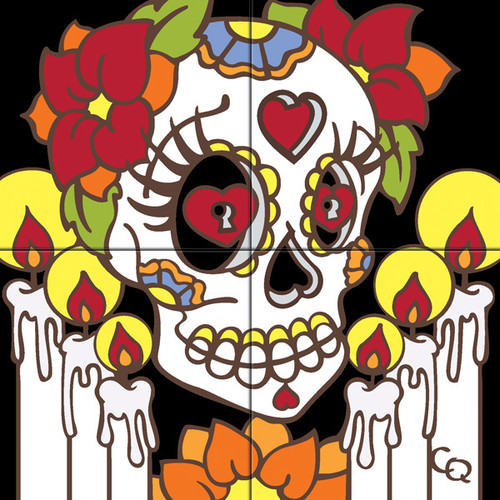 12x12 Tile Mural Day of the Dead with Candles/Facing Rt 6494A-12