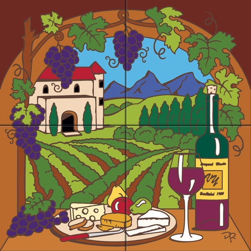 Tile Mural View of the Wine Vineyard