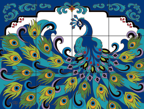 """18"""" x 24"""" Tile Mural Proud Peacock"""
