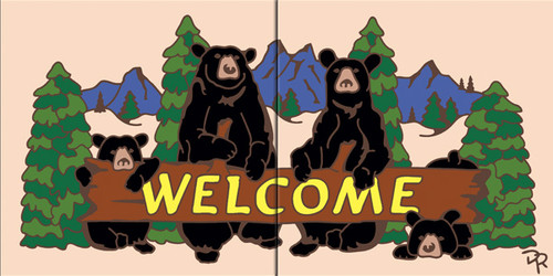 "6""x12"" Tile Sign Lodge Welcome Bears"