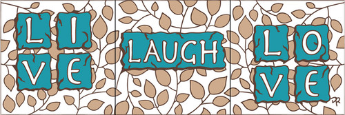 """6""""x18"""" Tile Sign Live Laugh Love"""