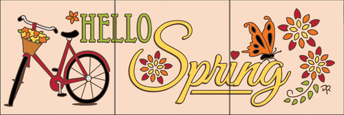 """6""""x18"""" Tile Sign Hello Spring"""