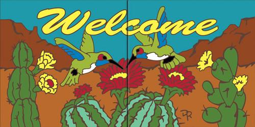 "6""x12"" Tile Sign Desert Blooms Welcome Hummingbirds"