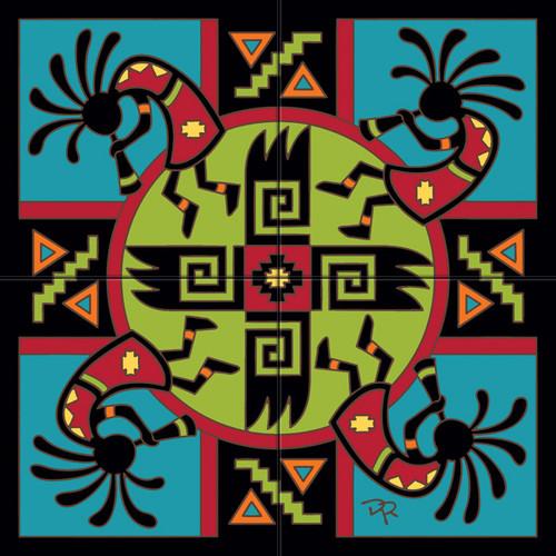 Tile Mural Kokopelli Pattern