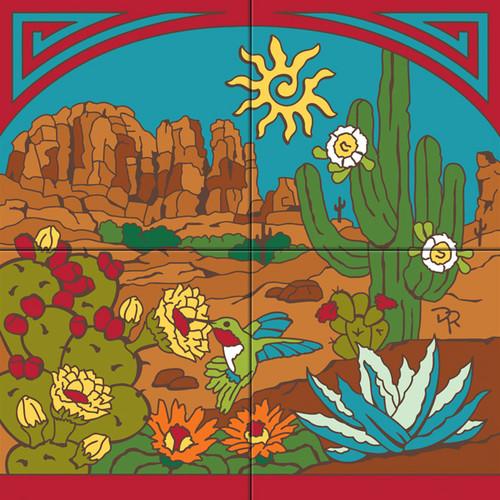 Tile Mural Hummer's Desert Paradise