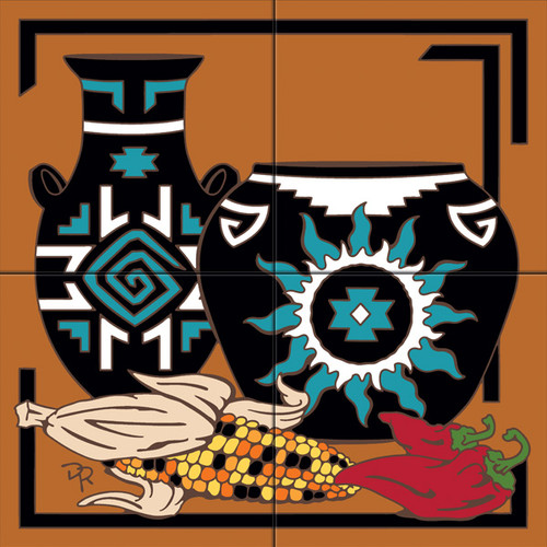 Tile Mural Pottery with Chilis/Indian Corn