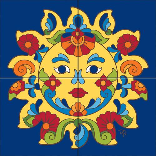 Tile Mural Talavera Sunface