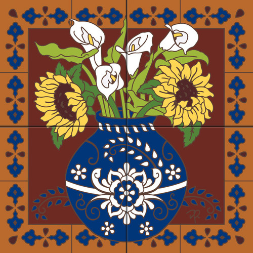 Tile Mural Spanish Sunflower and Calla Lilies