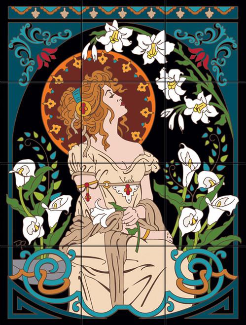 """24""""x18"""" Tile Mural Art Nouveau Lady Among Lilies"""