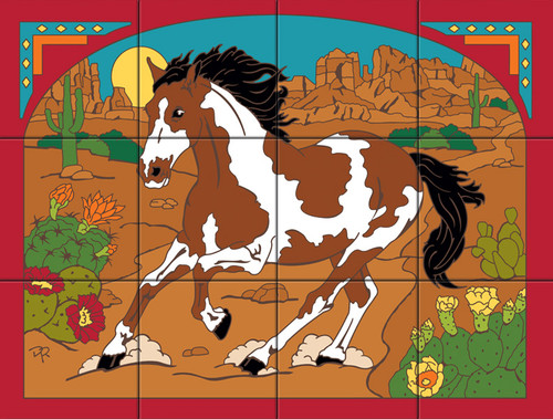 """18""""x 24"""" Tile Mural Free Spirit Pony"""