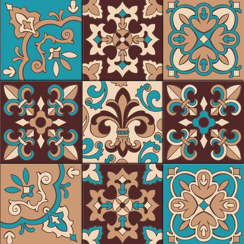 """18""""x18"""" Tile Mural Fleur de lis Décor Pattern"""