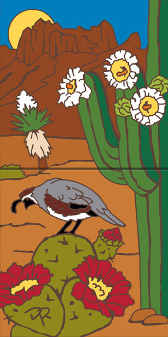 "12"" x 6"" Tile Sign Quail and Desert Blooms"