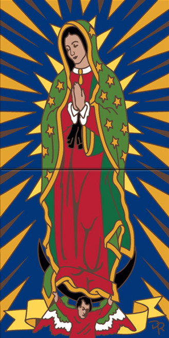 """12"""" x 6"""" Tile Sign Our Lady of Guadalupe"""