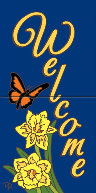 "12"" x 6"" Tile Sign Butterfly Daffodil Welcome"