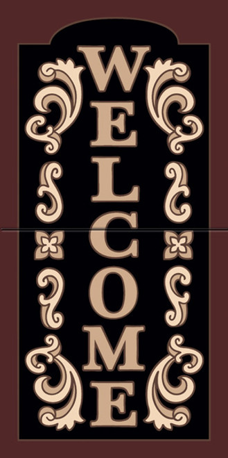 "12"" x 6"" Tile Sign Ornate Welcome"