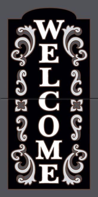 "12"" x 6"" Tile Sign Ornate Welcome Black"