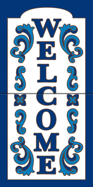 "12"" x 6"" Tile Sign Ornate Welcome Cobalt"