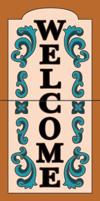 "12"" x 6"" Tile Sign Ornate Welcome Terra Cotta"