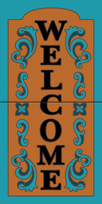 """12"""" x 6"""" Tile Sign Ornate Welcome Turquoise"""